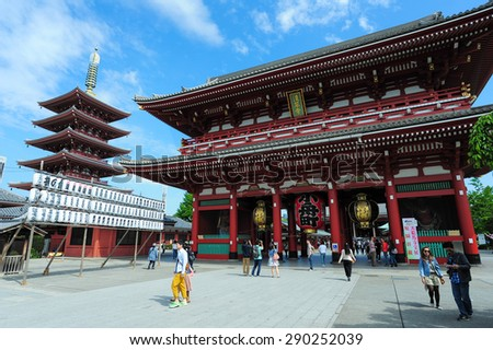 TOKYO,JAPAN - 30 April 2015 : Sensoji temple is Tokyo's most famous and popular temple.It is also one of its oldest, although the current buildings are postwar