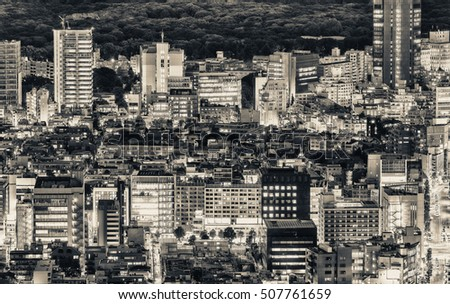 Tokyo, Japan. Beautiful aerial view of city buildings at night.