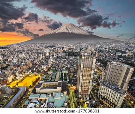 Tokyo, Japan cityscape with Mt. Fuji. - stock photo