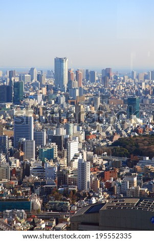 Tokyo, Japan -January 30, 2013:Aerial view at hi-rise buildings in Minato, Tokyo,Japan.This district is well known as the business district.