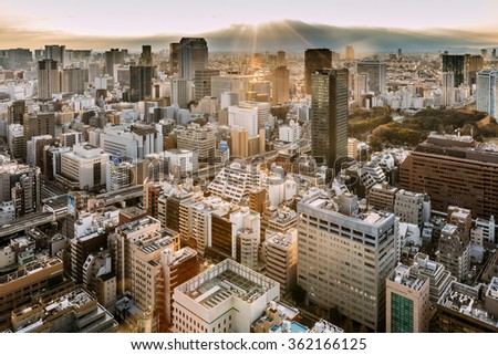 TOKYO, JAPAN - JANUARY 7: sunset view with the residential buildings as it seen from the observatory of WTC building in Minato-ku, Tokyo, Japan on January 7, 2016.