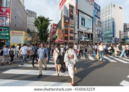 TOKYO - JAPAN - 11 JUN 2016 : Zebra Crossing Kabukicho, Japanese Red Light District located in Shinjuku