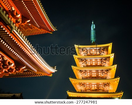 TOKYO, JAPAN - MARCH 21: Sensoji Temple on March 21, 2015 in Tokyo, Japan. This buddhist temple is the symbol of Asakusa and one of the most famous temples of Japan.