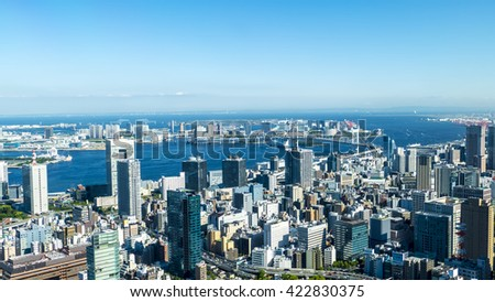 Tokyo, Japan - May 13, 2016 : The full viw of Tokyo city in the summer