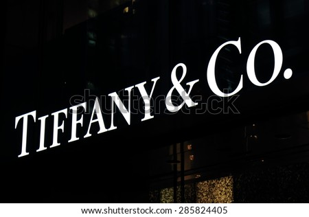 TOKYO JAPAN - MAY 9, 2015: Tiffany and Co. Tiffany and Co is an American worldwide luxury jewellery and speciality retailer headquartered in New York.  - stock photo