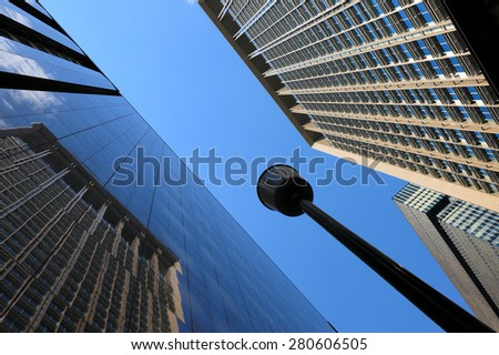 Tokyo, Japan - May 25, 2015: Tokyo Skyline. Picture Shows the Looking Up View of Tokyo Business District.