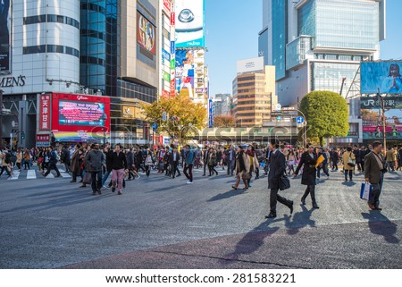 TOKYO, JAPAN - November, 21, 2014: Shibuya crossing in Tokyo, the busiest intersection in the world