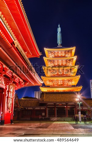TOKYO, JAPAN - NOVEMBER 27, 2015: The Senso-ji Temple in Asakusa is the most famous temple in tokyo. Also known as Asakusa Temple, it's the oldest temple in Tokyo.