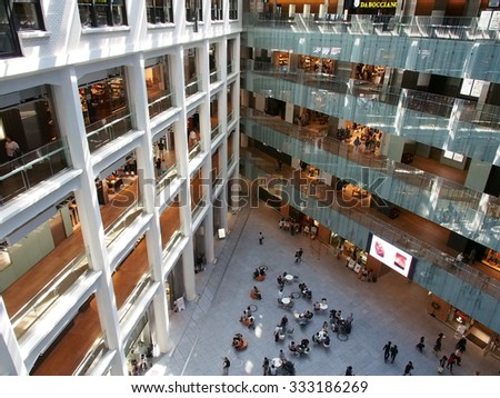 TOKYO, JAPAN - SEP 22: Kitte Marunouchi shopping center in Tokyo, Japan on September 22, 2015. Tokyo is both the capital and largest city of Japan.