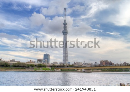 TOKYO,JAPAN - 14 Sept 2013 : The Tokyo Skytree is a new television broadcasting tower and landmark of Tokyo. It is the centerpiece of the Tokyo Skytree Town in the Sumida City Ward. - stock photo
