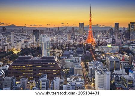 Tokyo, Japan skyline in Minato Ward. - stock photo