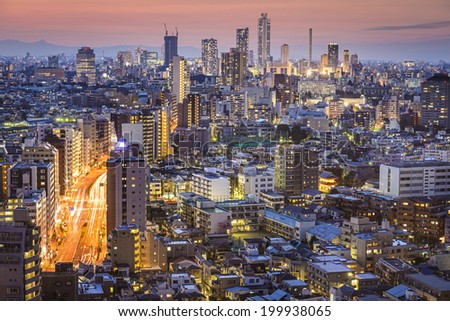 Tokyo, Japan skyline viewed from Bunkyo Ward. - stock photo
