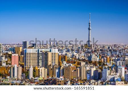 Tokyo, Japan skyline with Tokyo Skytree.   - stock photo