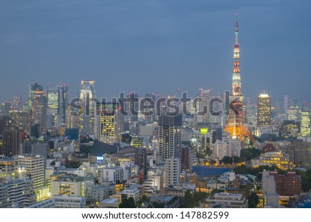 TOKYO - JULY 29: With over 35 million people, Tokyo is the world's most populous metropolis and is described as one of the three command centers for world economy July 29, 2013 in Tokyo, Japan  - stock photo