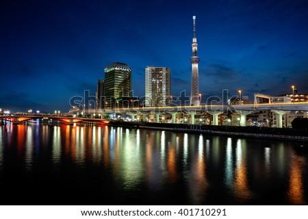 Tokyo landmark buildings  along the sumida river - stock photo