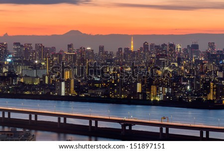 TOKYO - MAR.19: With over 35 million people, Tokyo is the world's most populous metropolis and is described as one of the three command centers for world economy March 19, 2013 in Tokyo, Japan  - stock photo