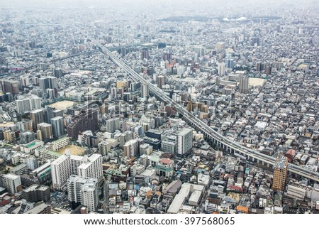 TOKYO -March 23 : Tokyo is the world's most populous metropolis top view March 23, 2016 in Tokyo, Japan.