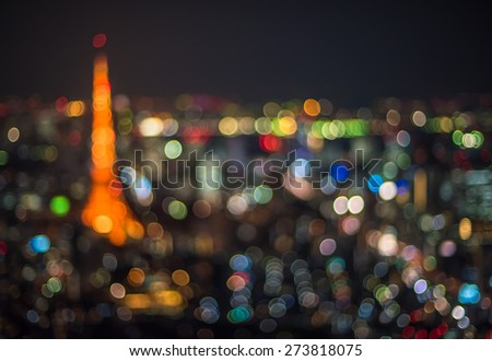Tokyo night scene, defocused background - stock photo