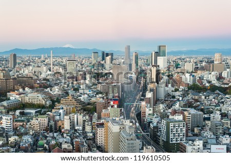 TOKYO -NOV. 4: With over 35 million people, Tokyo is the world's most populous metropolis and is described as one of the three command centers for world economy November 4, 2012 in Tokyo, Japan. - stock photo