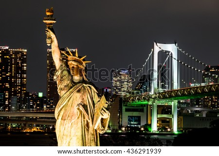 Tokyo Odaiba , rainbow bridge at night  in JAPAN - stock photo