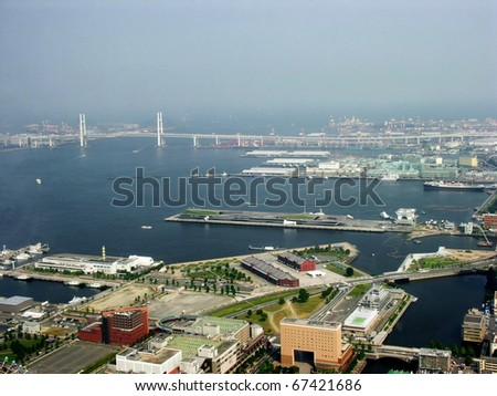 Tokyo Port and bay view from air