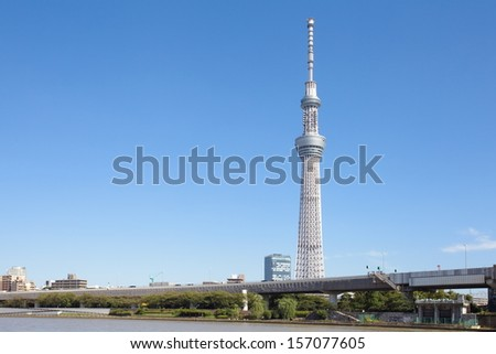 TOKYO - SEP 17 : View of Tokyo Sky Tree (634m) at daytime , the highest free-standing structure in Japan and 2nd in the world with over 10million visitors each year, on Sep 17, 2013 in Tokyo, Japan.  - stock photo