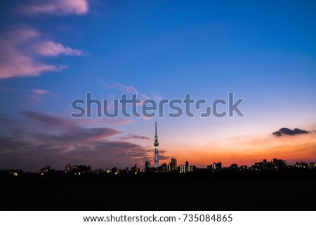 TOKYO - Sep 30, 2017 : View of Tokyo Sky Tree (634m) , the highest free-standing structure in Japan and 2nd in the world with over 10 million visitors each year, on Sep 30, 2017 in Tokyo, Japan.