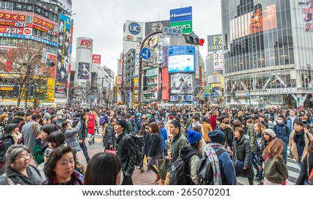 Tokyo, Shibuya. February 8, 2015. The shibuya district in Tokyo. Shibuya is popular district in Tokyo, for his pedestrian cross where all pedestrians cross in the same moment from all direction - stock photo
