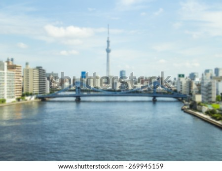 Tokyo Sky Tree , Blurred Photo bokeh - stock photo