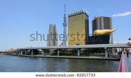Tokyo Sky tree viewed from Azumabashi Riverside - stock photo