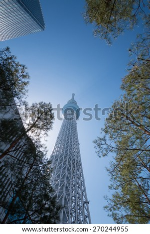 Tokyo sky tree with blue sky. - stock photo