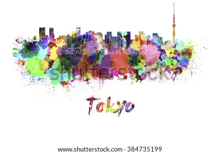 Tokyo skyline in watercolor splatters with clipping path - stock photo