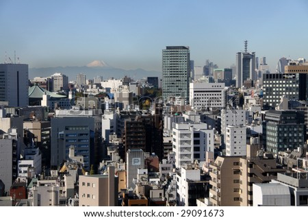 Tokyo skyline with Mt. Fuji in the background - stock photo
