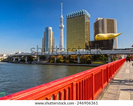 Tokyo skyline, with the Skytree and the Flamme d'or building, Japan. - stock photo