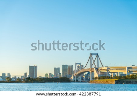 Tokyo skyline with Tokyo rainbow bridge - stock photo