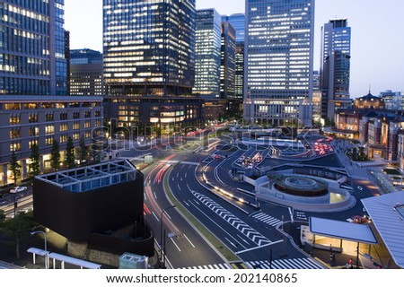 Tokyo station at twilight - stock photo