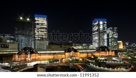 Tokyo station by night from above - stock photo