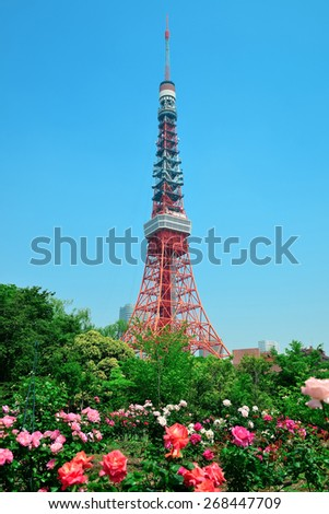 Tokyo Tower as the city landmark with flowers. Japan. - stock photo