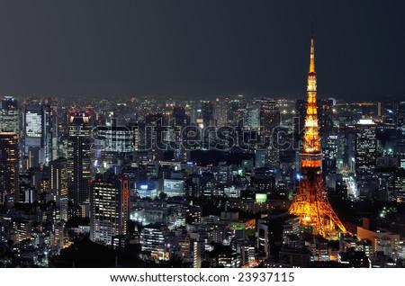 Tokyo tower at night - stock photo