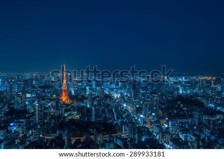 Tokyo Tower Cityscape at night May 2015 - stock photo