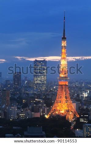 Tokyo Tower in Minato Ward, Tokyo, Japan. - stock photo
