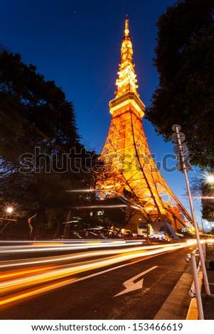 Tokyo tower in sunset light - stock photo