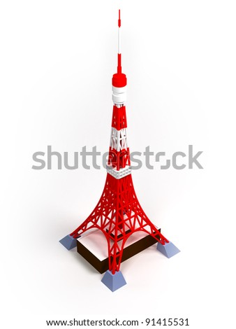 Tokyo tower on a white background, 3d image - stock photo