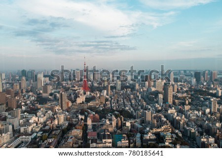 Tokyo tower with Tokyo city view.
