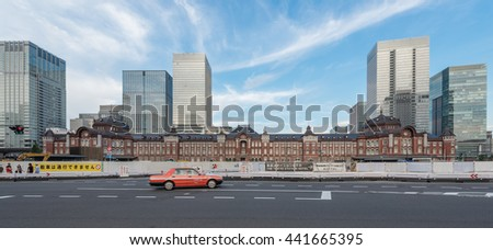 TOKYO TRAIN STATION - TOKYO - JAPAN - 11 JUN 2016 : Panorama of Tokyo Station Red Brick Building (One of the Most Busiest Train Station in Japan) - stock photo