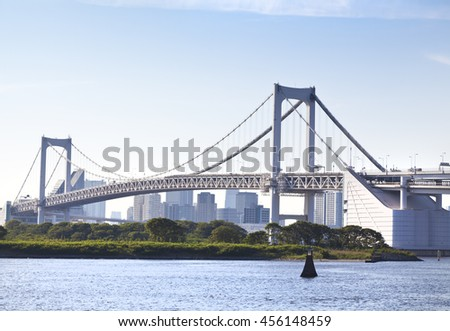 Tokyo waterfront, view on Rainbow Bridge with cityscape at Odaiba Japan