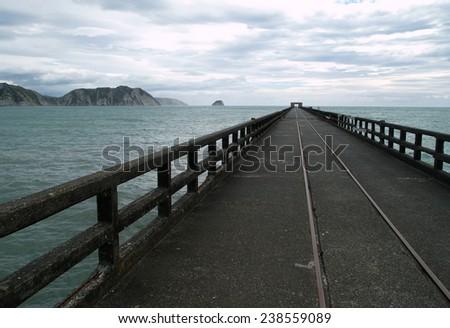 Tolaga Bay wharf, New Zealand - stock photo