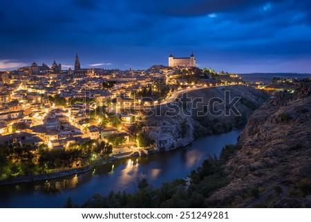 Toledo after sunset, Castile-La Mancha, Spain - stock photo
