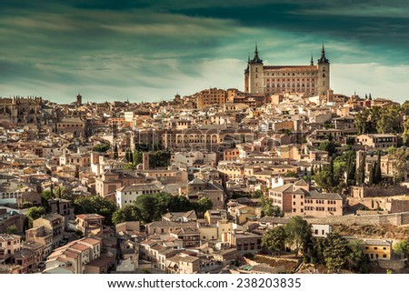 Toledo over sunset. medieval town in Spain - stock photo