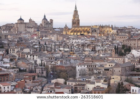 Toledo skyline view at sunset with cathedral. Spain. Horizontal - stock photo